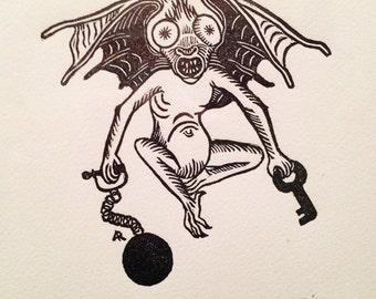 Grotesque creature Bat demon medieval original hand pulled print