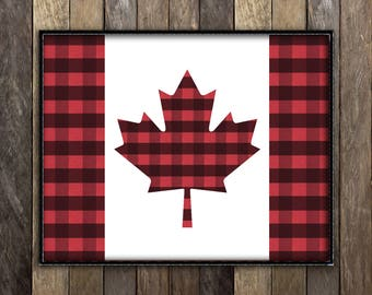 Canada Flag Art Print, Canada Shops, Canada 150, Buffalo Plaid Decor, Made in Canada, Canadian Sellers, Canadian Art, Cottage Decor Cabin