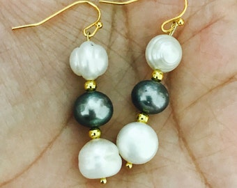 Grey & White Freshwater Pearls Earrings
