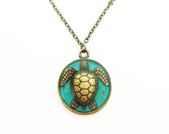 Sea turtle jewelry / turtle necklace / ocean jewelry / brass or copper pendant / tortoise jewelry / Mothers Day Jewelry / Valentines Day