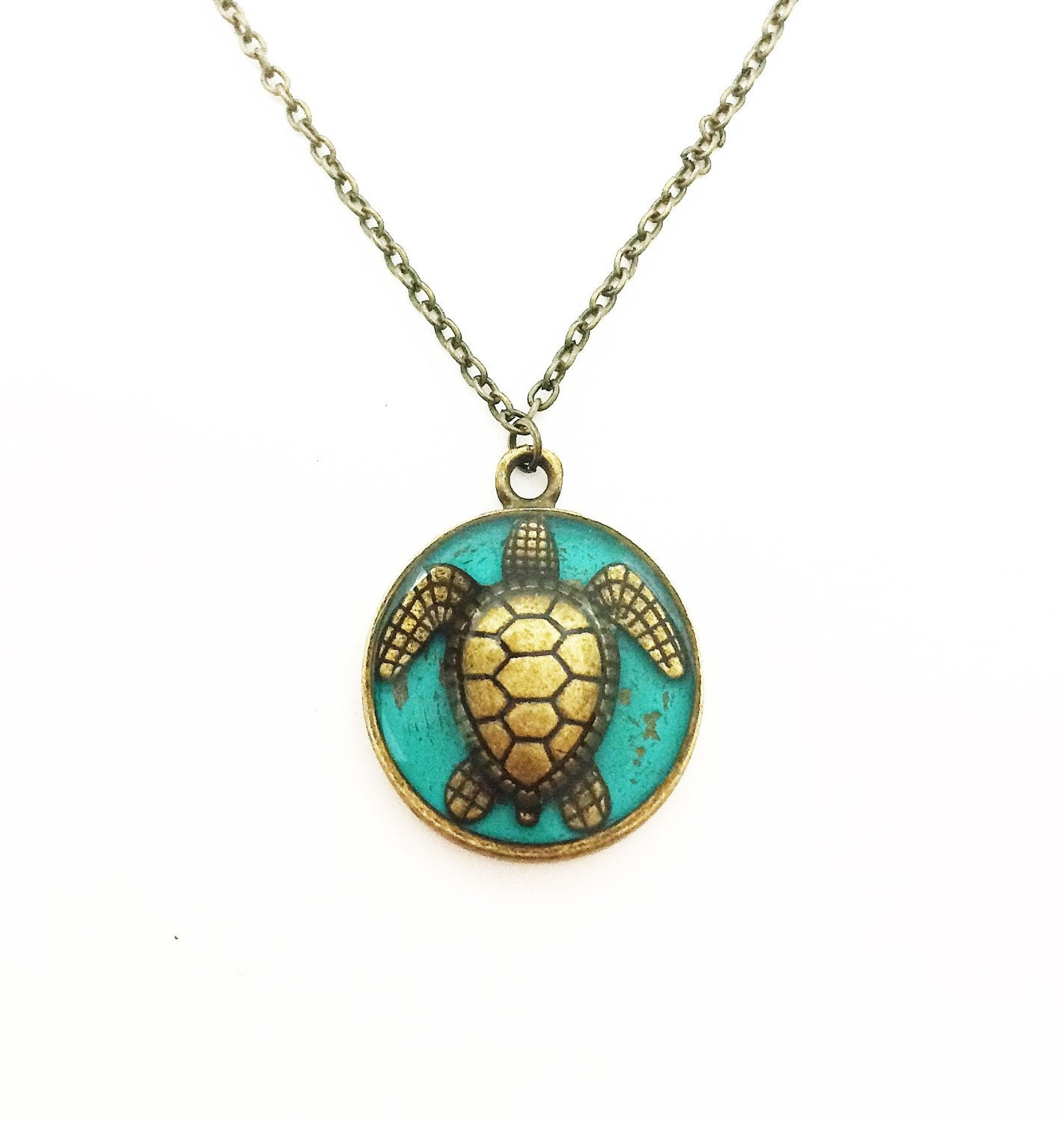 Sea turtle jewelry turtle necklace ocean jewelry brass zoom mozeypictures Images