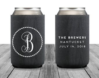 Neoprene Can Coolers, Personalized Coolies, New England Wedding, Custom Hugger, Beach Wedding Can Coolers, Nautical Wedding, Rope, 1312