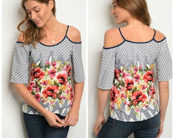 ADORABLE Navy and Floral Cold Shoulder Blouse • So Much Summer Fun!