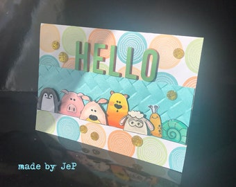 "card ""hello"" 6 friends! hand made"