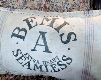 "Authentic Bemis Grain Sack Pillow Size 11"" x 18"""