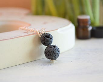 Lava Necklace, Essential Oil Necklace, Oil Diffuser Necklace, Lava Stone Necklace, Diffuser Necklace, Rose Gold Necklace, Aromatherepy