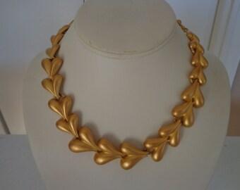Vintage Estate Trifari Matte Gold Tone Heart Link Statement Necklace