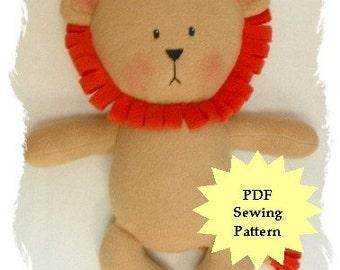 Stuffed Animal Sewing Pattern, Plush Sewing Pattern PDF -  Lion, Softie, Plushie - Instant Download, DIY