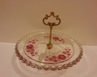 Glass Serving Tray with Pink Flowers and Center Handle