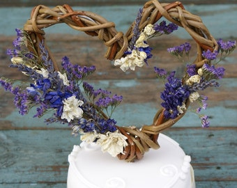 Provence Dried Flower Willow Heart Cake Topper