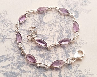 Purple Amethyst and 925 Sterling Silver Handmade Gemstone Bracelet Delicate Ladies Women's Gift for Her February Birthstone