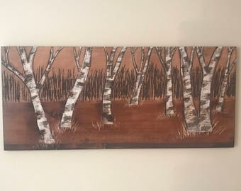 Birch tree forest hand carved wood wall art 36in X 16