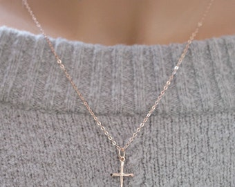 Rose Gold Cross Necklace 14k gold filled dainty jewelry small cross gift Minimalist Baptismal Confirmation gift Religious Layering necklace