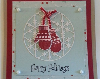 Winter mittens Christmas cards