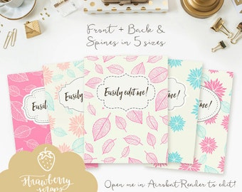 "Printable binder inserts: ""PINK & TURQUOISE DAHLIAS"" 5x set Covers + Spines | Binder covers | Cute binder printable | School binder | Fall"