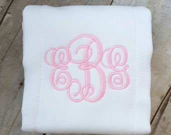 Girl Monogrammed Baby Burp Cloth | Burpie | Burp Rag |