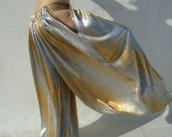 Gold Silver metallic Pantaloons, the open hip harem pant.-Bloomers- Wide Leg Pants. Tribal Fusion belly dance