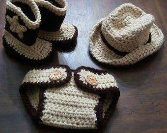 Handmade Crochet Newborn Cowboy Hat Boot & Diaper Cover Western Photography Prop Set