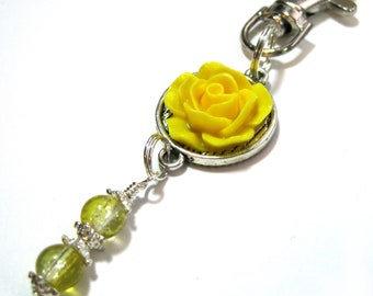 Yellow Rose Beaded Planner Charm - Erin Condren Planner Charm - Purse Charm - Zipper Pull - TN Charm - Travelers Notebook Charm