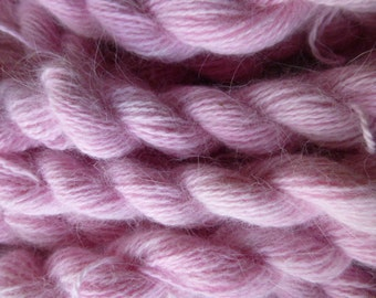 FOUR skeins pink 100% pure angora bunny rabbit fur yarn DK weight
