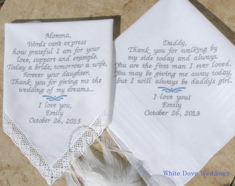 Mother and Father Wedding Gift Embroidered Wedding Handkerchief by White Dove Weddings