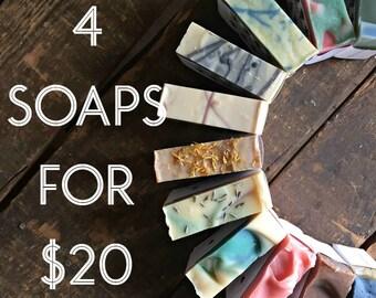 Four Artisan Soaps - Your Choice of Four Vegan Soaps - 4 Soaps Set -  Bulk Discount