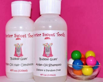 BUBBLE GUM Argan Oil Shampoo & Conditioner Set (Sulfate and Paraben Free)