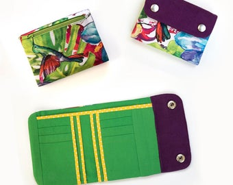 Tri-fold wallet pattern, women's wallet pdf sewing pattern and tutorial, instant download - p003