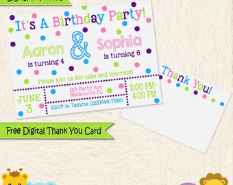 Brother Sister Combined Birthday Party Invitation • Siblings Invitation • Personalized Invitations •Thank You Cards • Printed & Digital 034C