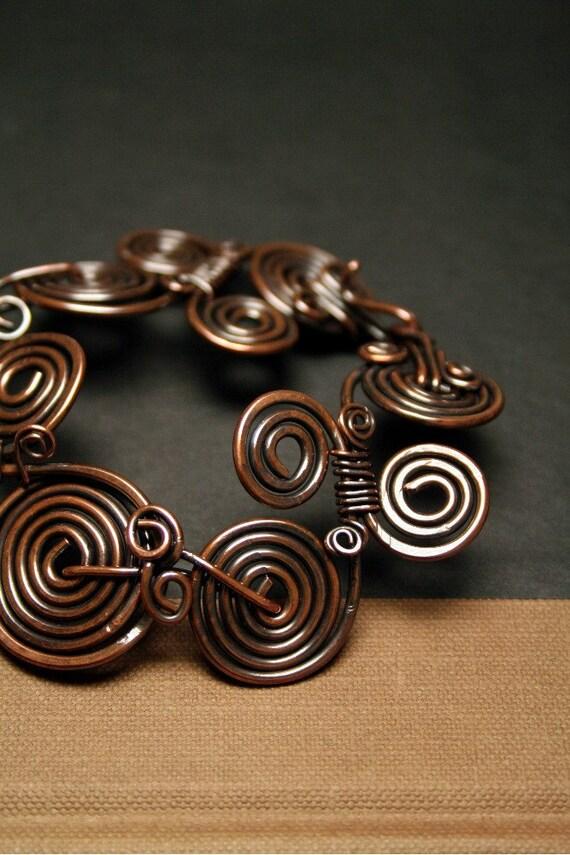 Rustic Copper Coiled Bracelet