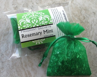 Rosemary Mint Sachets, Aroma beads, set of 2 highly fragranced organza bag sachets, perfect herbal scent, top seller