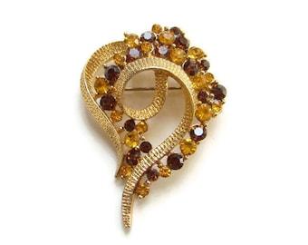 Vintage Retro Amber Topaz Rhinestone Pin Brooch Goldtone Setting