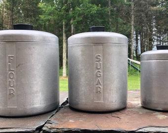 Set of 3 Vintage Aluminum Canisters - Tin Canister Set - Flour, Sugar, Tea Canisters, Vintage Kitchen Storage