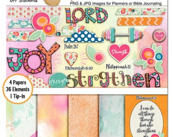 Digital Strength Bible Journaling Kit PNG images for work on Digital or Hybrid Pages in  Bible margins or Planners