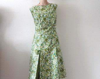 1960s Tori Richard Dress / floral print cotton a-line sundress / designer vintage hawaiian resort wear size L