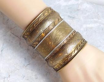 "Vintage Wide Brass Cuff Bracelet - Embossed w/ Leaves and Vines - Boho Ethnic Goldtone Cuff Bracelet 3"" Wide - Handmade in India - 1970s"