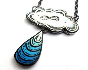 White Cloud Necklace, White Cloud with Blue Raindrop Necklace, Cloud Jewelry, Blue Raindrop Dangle Necklace, Storm Necklace, Rain Necklace