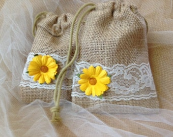 Sunflower Party Favor Bags, Wedding Table Decor - Barn, Rustic Weddings, Rehearsal Dinners or Bridal Showers - Wedding Table Decor