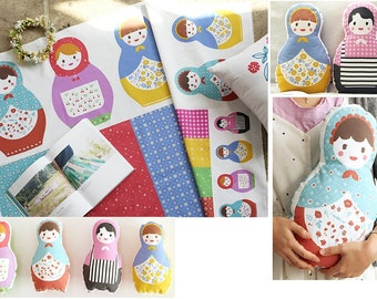 matryoshka doll fabric baby/matryoshika doll diy kit/baby nursery fabric/fabric panel/girl doll diy fabric/cute doll scandinavian nursery
