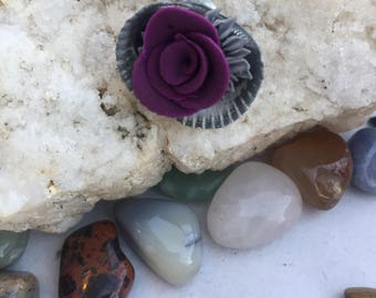 Black and Purple Flower Garden Sea Shell Necklace, Lake Erie Sea Shell and Polymer Clay Pendant