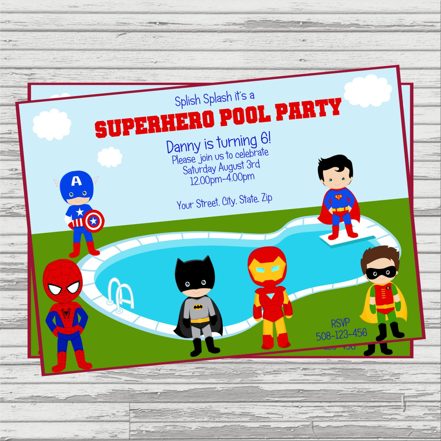 Superhero Pool Party Custom DIGITAL Birthday Invitation.