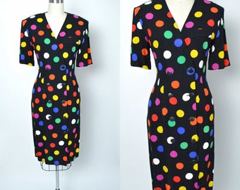 Vintage 1980s Dress 80s Polka Dot Multicolored 1984 Purple April Rain