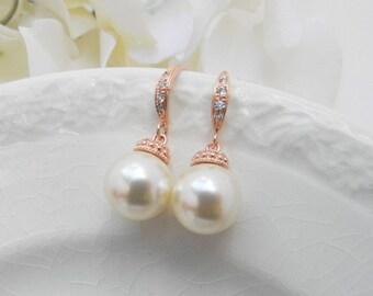 Rose Gold Pearl Bridesmaid Earrings / Pearl Dangle Earrings/ Bridesmaid Gift Ideas /Bridesmaid Earrings/ Rose Gold Pearl Bridesmaid Earrings