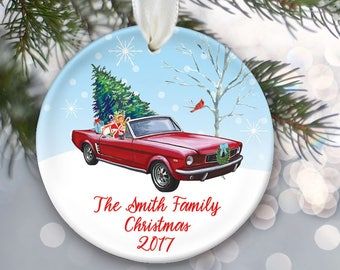 Vintage car ornament with tree, Red convertible ornament, Classic car personalized Christmas ornament, Antique car 1966 Mustang Gift OR834