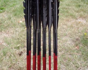 Custom Razorback Arrows, Made To Order / Dozen Arrow Set / traditional wood archery arrows