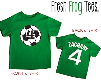 soccer ball doublesided shirt - any name and age - pick your colors!