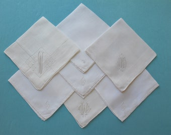 7 Hankies W Monograms Hand Embroidered White Linen Vintage c. 1930s 1940s Handkerchief Hanky Destash