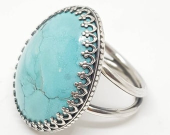 Handmade Statement Sterling Silver Turquoise Ring .925 sz. 8