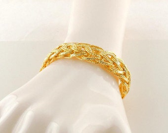 "Gold Plated Sterling Silver Hollow Weaved Bracelet 7 1/4"" (17.5 grams)"