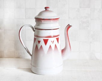 Rare Big Antique French White and red Enamelware Coffee Pot - Geometric triangle pattern Home Decor - Country style - Shabby chic